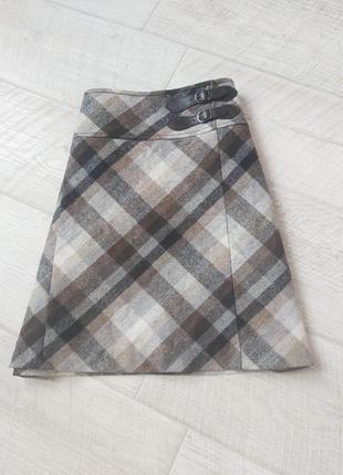 Тёплая юбка трапеция в клетку шерсть oliver