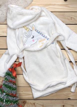 Детский халат мягкий махровый принт единорог1 фото