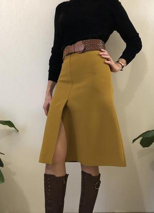 Горчичная юбка трапеция cos,massimo dutti,размер32-34