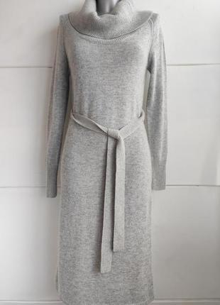 Теплое  платье с ангорой  marks & spencer с высоким воротником и поясом