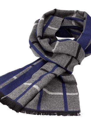 Мужской шарф в клетку luxwear ms1005 серый