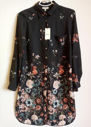 Блузка рубашка туника черная с цветочным принтом с разрезами удлиненная