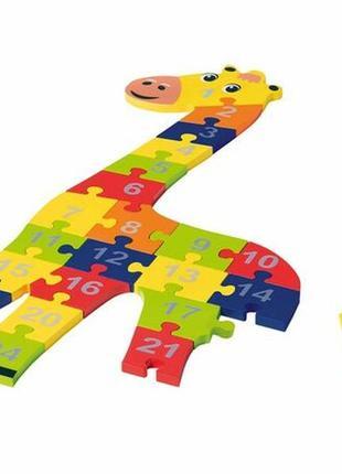 Большой деревянный пазл-головоломка жираф playtive