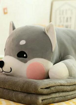 Плюшевая игрушка-подушка.внутри плед.