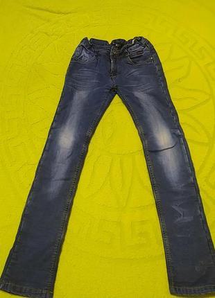 Синие теплые джинсы