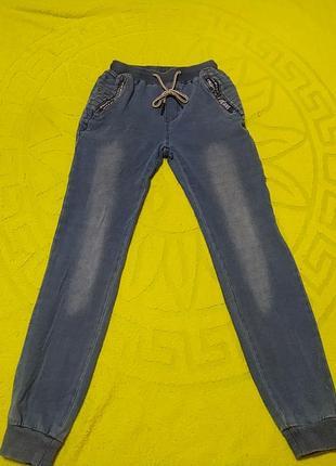 Синие  спортивные джинсы, длина 97, от 29-35, об 46