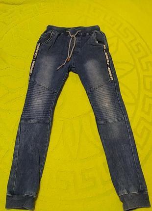 Синие  спортивные джинсы, длина 87, от 29-35, об 40