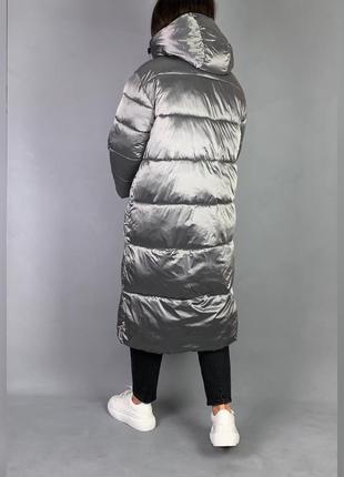 Пуховик одеяло длинная зимняя куртка с капюшоном.4 фото