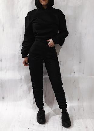 Новый чёрный костюм на флисе , худи с капюшон и штаны