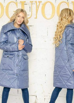 Зимнее пальто из плащевки в стиле оверсайз рр 42-52
