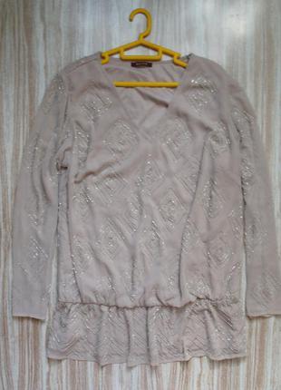 Актуальная шифоновая блуза с вышивкой бисером