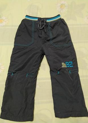 Сине серые балоневые теплые штаны, длина 61, от 25, об 36