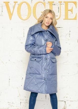 Зимнее пальто из плащевки в стиле оверсайз
