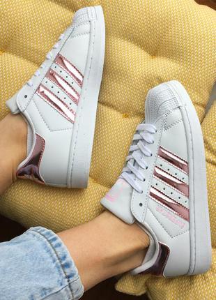 547f21903a0e Кроссовки белые с розовыми полосками кожа adidas superstar Adidas ...