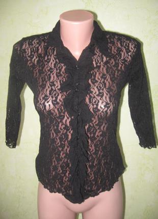 Шикарная кружевная блузка рубашка