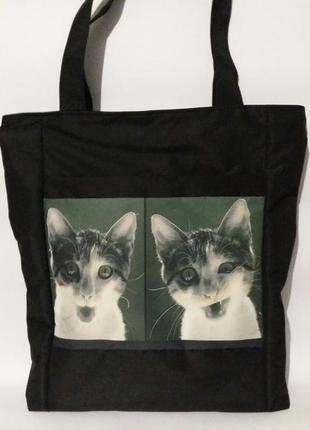 Щоппер торба экосумка черная принт коты легкая на плечо