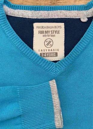 """Джемпер/свитер cotton100% """"plaza italia boys"""" 3-4г. италия3 фото"""