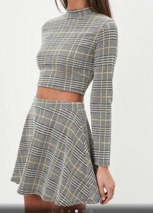 Стильная блуза в клетку с длинным рукавом missguided bl1848173