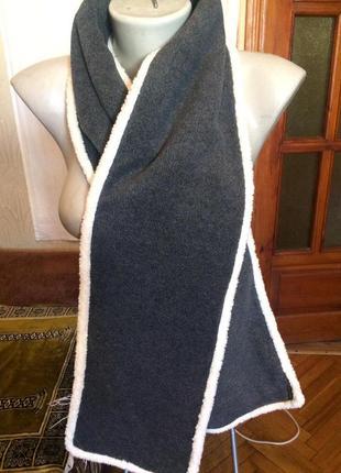 Очень теплый флисовый,двухсторонний шарф