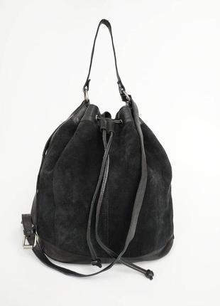 Zign. большая вместительная сумка через плечо. кожа + замша