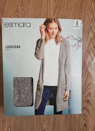 Красивый серый кардиган с накладными карманами ткань букле esmara