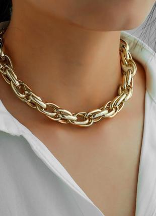 Цепь цепочка чокер крупная сложное плетение колье ожерелье под золото новая