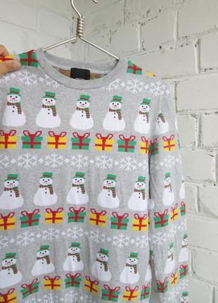 Свитер новогодний со снеговиком унисекс светр новорічний з сніговиком унісекс