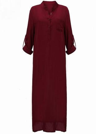 Платье - рубашка джильбаб цвет марсала большие размеры