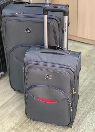 Тканевый чемодан wings серый 2 колеса