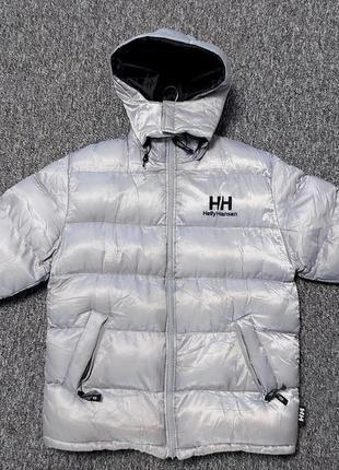 Серебристая серая чёрная двухсторонняя зимняя тёплая мужская куртка курточка