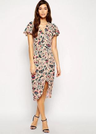 Распродажа платье love миди с запахом спереди и юбкой-тюльпан с сайта asos