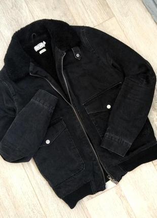 Джинсовая куртка с мехом,шерпа, зимняя осенняя