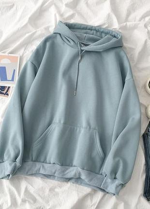 Модное объемное женское голубое худи  на флисе с капюшоном