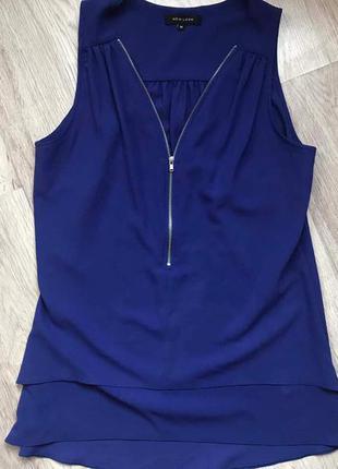 Блуза на замке синяя