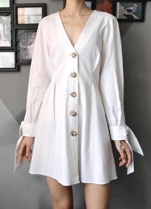 Неимоверно женственное платье молочного цвета из льна и вискозы asos