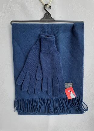 Carlo margo шарф 🧤 с перчатками морская волна кашемировый с бахромой