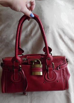 Кожаная сумка-саквояж chloe paddington lock.