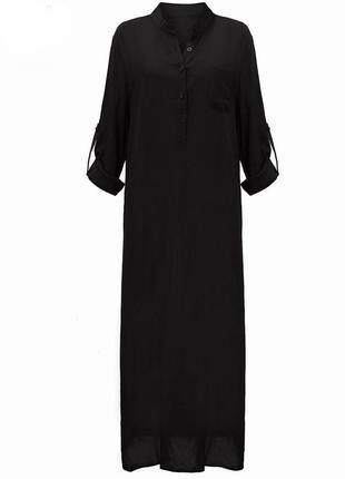 Платье - рубашка длинное черное джильбаб, галябийа