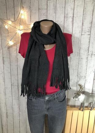 Серый графитовый шарф флисовый шарфик с бахромой