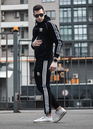 Утепленный спортивный костюм adidas zipper treeze черный