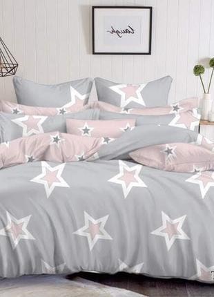 Постельное белье серое со звездами