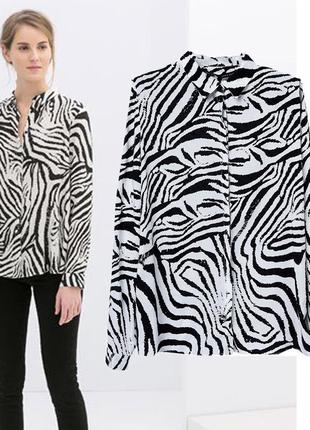 Рубашка шифоновая принт зебра
