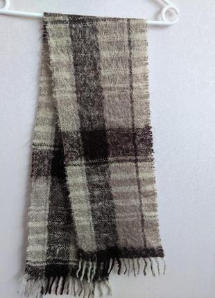 Очень теплый шарф в клетку, шерсть