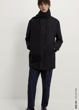 Чёрное непромокаемое пальто zara