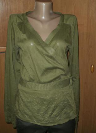 Шик!! 100% натуральная ткань!! блуза с вышивкой от h&m р. 12