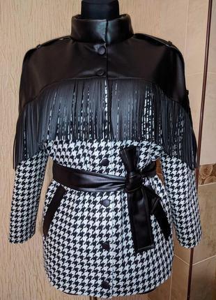 Куртка с бахромой в гусиную лапку