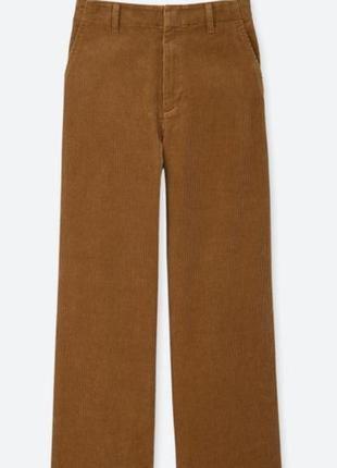 Вельветовые прямые широкие штаны палаццо высокая посадка