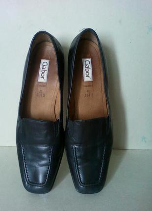 Туфли мешти обувь взуття черные классика кожаные gabor низкие удобные р 8 или 42-43 28,5