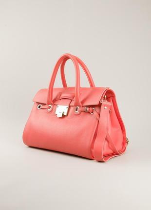 Стильная кожаная кораловая сумка jimmy choo