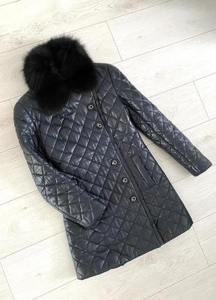 Тёплое стеганое пальто натуральная кожа и мех